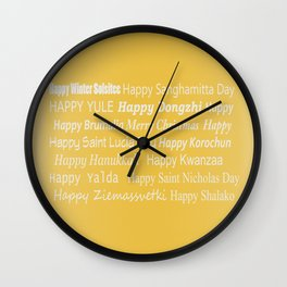 Happy Holidays! in Gold Wall Clock
