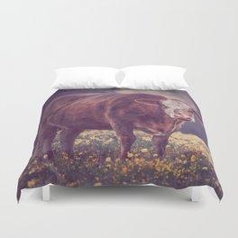 Brown Cow in Wild Flower Field Duvet Cover