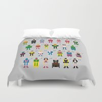 aquaman Duvet Covers featuring Pixel Superhero Alphabet 2 by PixelPower