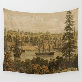 Vintage Pictorial Map of Victoria Vancouver (1860) Wall Tapestry