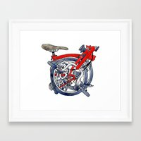 brompton Framed Art Prints featuring Brompton Folded Red by Diana Powell