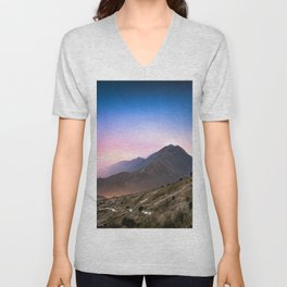 Fantasy mountainscape at night with starry sky in Hong Kong Unisex V-Neck