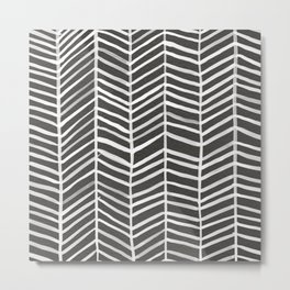 Herringbone – Black & White Metal Print