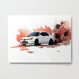 Subaru STi Drift Watercolor Painting Metal Print