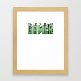 Video Game Gamer cool font green saying star gift online Framed Art Print