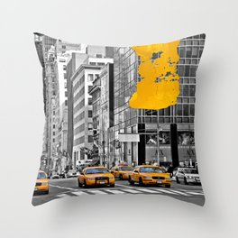 NYC Yellow Cabs - Police Car - Brush Stroke Throw Pillow