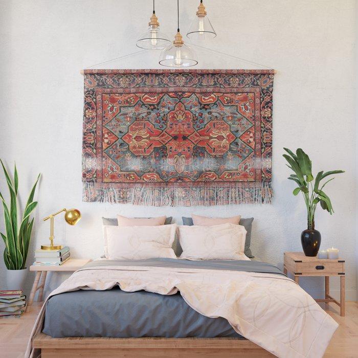Kashan Poshti Central Persian Rug Print Wall Hanging
