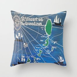 St. Vincent & Grenadines Sailing Map Throw Pillow