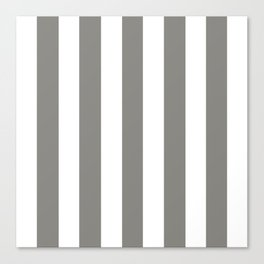 Titanium grey - solid color - white vertical lines pattern Canvas Print