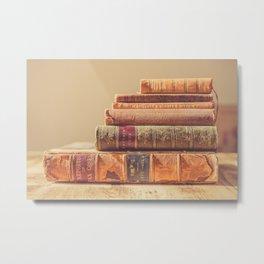 Vintage Book Stack (Color) Metal Print