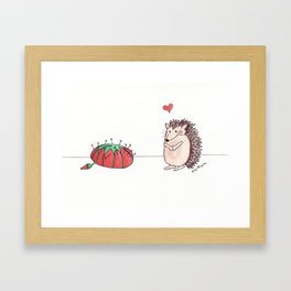 Hedgehog in Love Framed Art Print