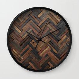 Dark Wood Patterns Wall Clock