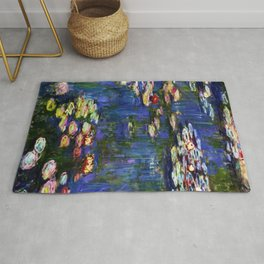 Water Lilies at Twilight impressionist painting by Claude Monet Rug