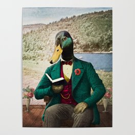 Monsieur Mallard Reading an Improving Book Poster