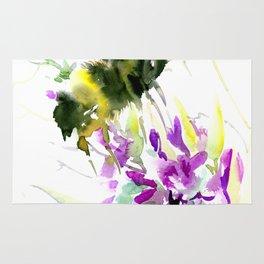 Bumblebee and Flowers Rug