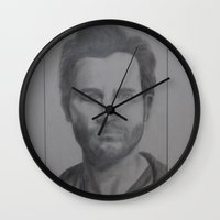 tyler spangler Wall Clocks featuring Tyler Hoechlin by JMarGo