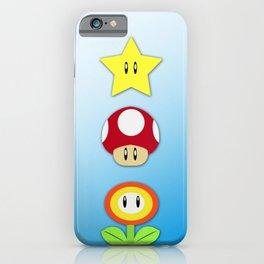 Super Mario Bros Star, Mushroom and Flower iPhone Case