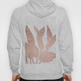 Modern faux Rose gold leaf tropical white marble illustration Hoody