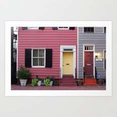 Pink and Grey and Yellow and Orange Art Print
