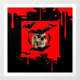BAT INFESTED HAUNTED SKULL ON BLEEDING HALLOWEEN ART Art Print