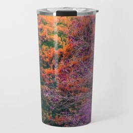 autumn tree in the forest with purple and brown leaf Travel Mug