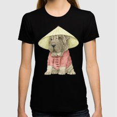 Shar Pei on the Great Wall Black Womens Fitted Tee MEDIUM