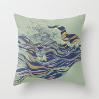 huebucket Throw Pillows featuring OCEAN AND LOVE by Huebucket