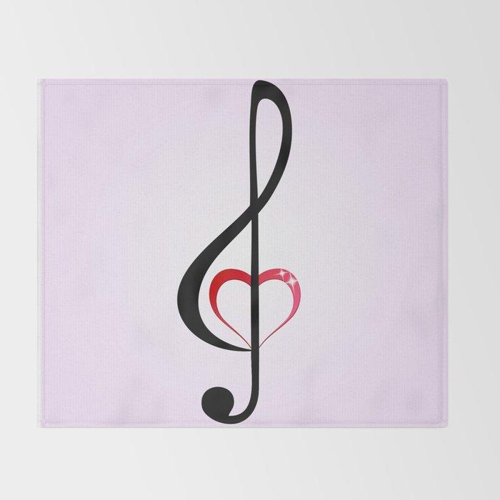 Heart music clef Throw Blanket