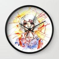 tokyo ghoul Wall Clocks featuring Tokyo Ghoul - Juuzou Suzuya by Kayla Phan