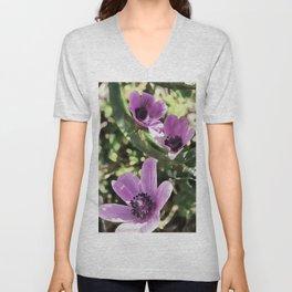 Three Spring Anemone Flowers Unisex V-Neck