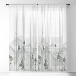 Winter mountains with forrest animals - Curtain kids/ baby Sheer Curtain