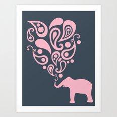 Pink Grey Paisley Elephant Pattern Design Art Print