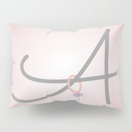 Pink Letter A with Stitch Marker Pillow Sham