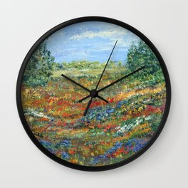 Summer In The Meadows, Impressionism floral landscape Wall Clock