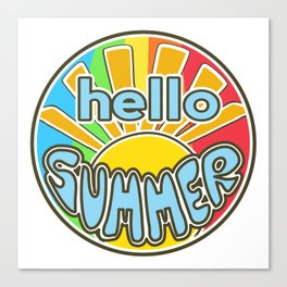 Hello Summer, summer sticker, rainbow colors, Sunshine Canvas Print