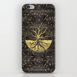 Golden Tree of life on wooden texture iPhone Skin
