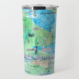 Vancouver British Columbia Canada Travel Poster Favorite Map Travel Mug