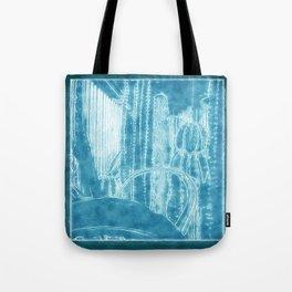 Cactus Garden Outlined Blue Tote Bag