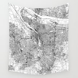Portland White Map Wall Tapestry
