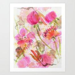 Chinese Brush Flowers Art Print