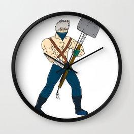 Ninja Masked Warrior Sledgehammer Cartoon Wall Clock