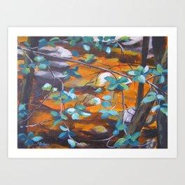 Leaves over golden water Art Print