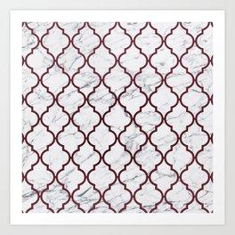 Burgundy gray white marble moroccan quatrefoil Art Print