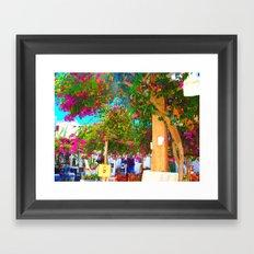 Purple flowers in Mykonos Framed Art Print