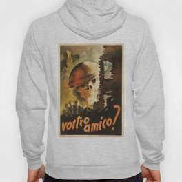 Vintage WWII Italian Skeleton Soldier in Bombed-out Ruins Poster Hoody