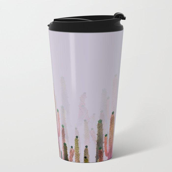 cactus water color colors Metal Travel Mug