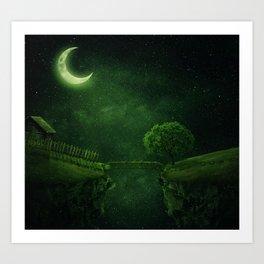 countryside crescent moon Art Print