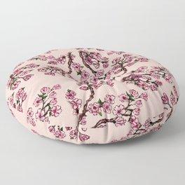 Sakura Branch Watercolor Floor Pillow