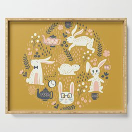 Bunnies + Teapots in Gold Serving Tray