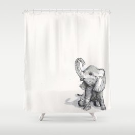 tiny elephant sitting in the corner Shower Curtain